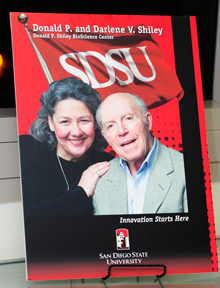signage at event, portait of Darlene and Donald Shiley innovation starts here, and sdsu logo