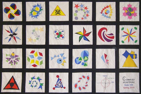 Each quilt square in the quilt was designed by a different student using complex functions to transform their original image(s).